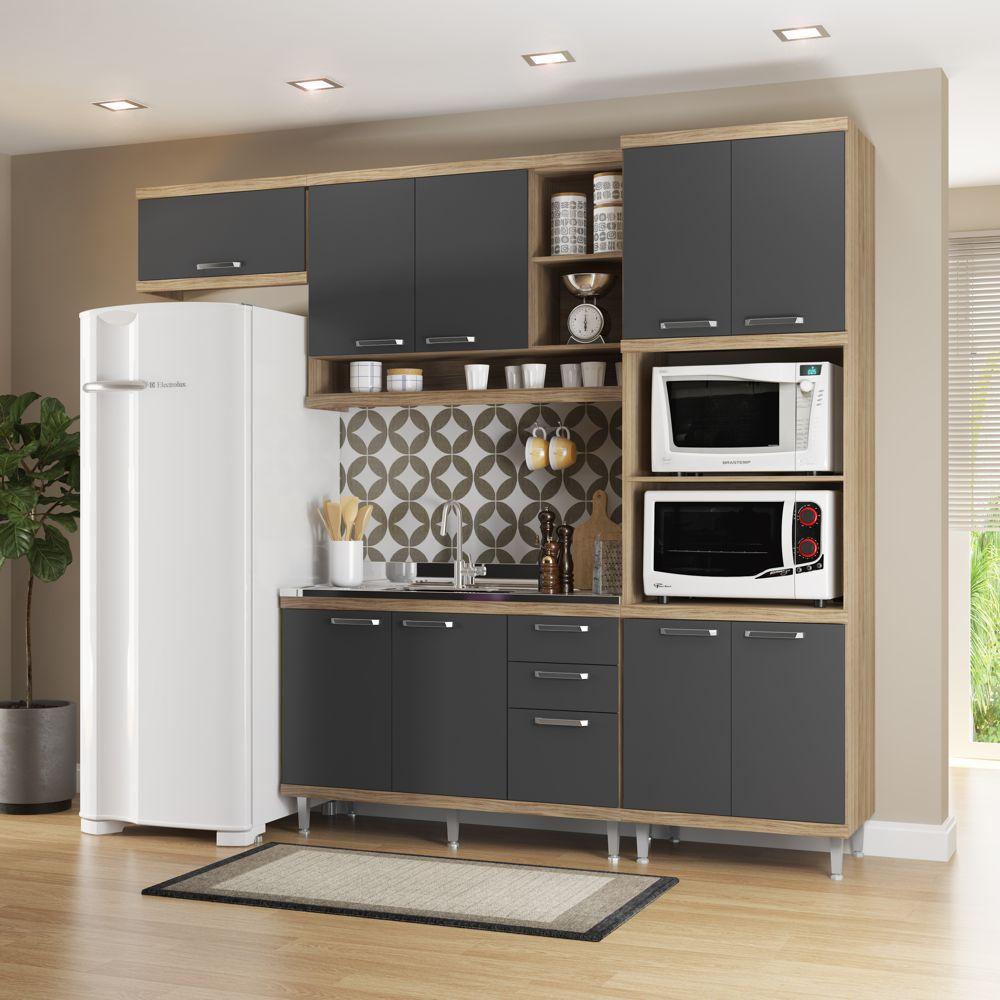 Armário de Cozinha Completo 4 peças sem tampo 2,60m 5828 Linha Sicília Multimóveis