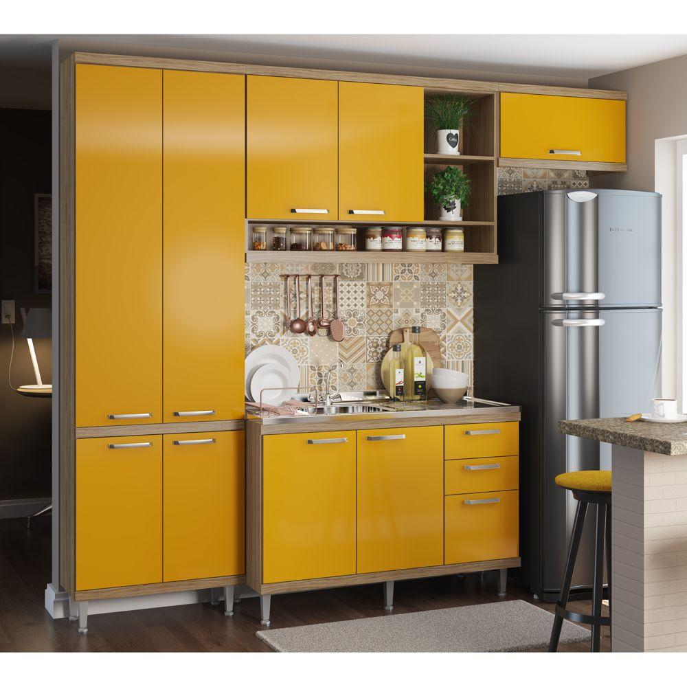Armário de Cozinha Completo 4 peças sem tampo 2,60m 5840 Linha Sicília Multimóveis