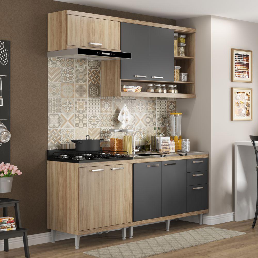 Armário de Cozinha Completo 4 peças sem tampo de pia 1,90m 5810 Linha Sicília Multimóveis