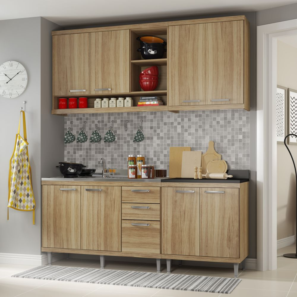 Armário de Cozinha Completo 4 peças sem tampo de pia 1,90m 5818 Linha Sicília Multimóveis