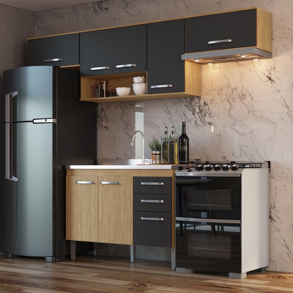 Armário de Cozinha completo 4pc 2,55m Bélgica A3098 Casamia