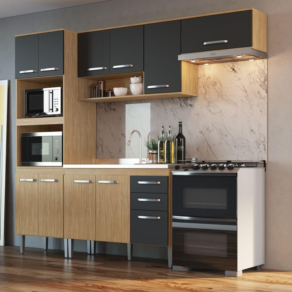Armário de Cozinha completo 4pc 2,55m Bélgica A3099 Casamia