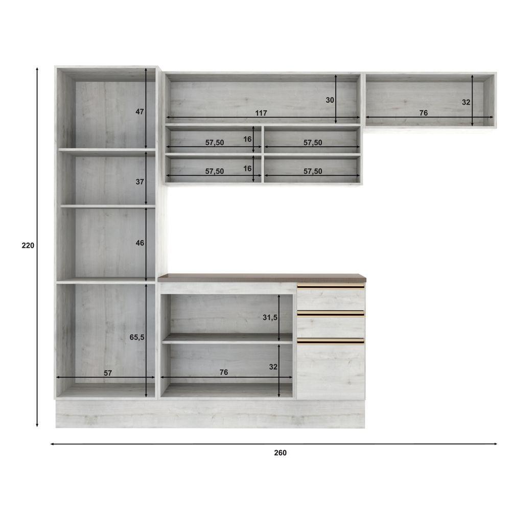 Armário de Cozinha Completo 4pc 2,60m A2194 Itália Casamia