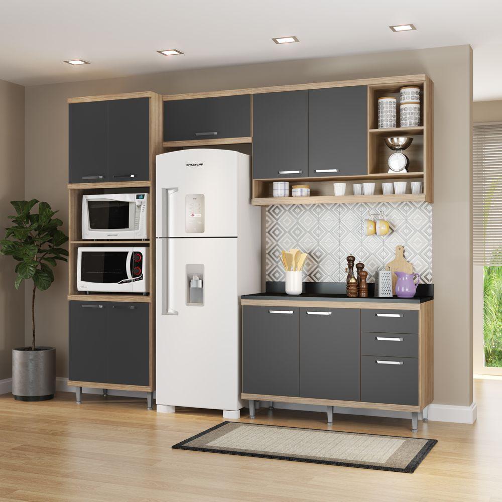 Armário de Cozinha Completo 5 peças 2,60m 5829 Linha Sicília Multimóveis