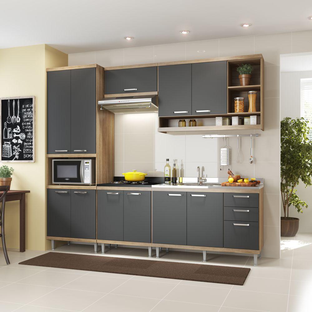 Armário de Cozinha Completo 5 peças sem tampo de pia 2,60m 5808 Linha Sicília Multimóveis