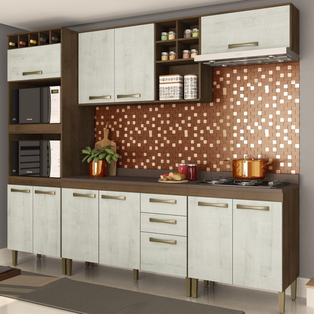 Armário de Cozinha Completo 5pc 2,55m A1399 Viena Casamia