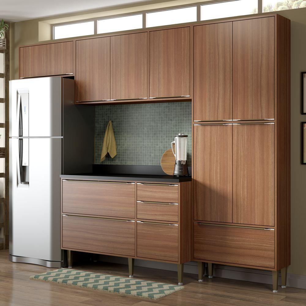 Armário de Cozinha Completo 5pc 2,60m Calábria 5458 Multimóveis