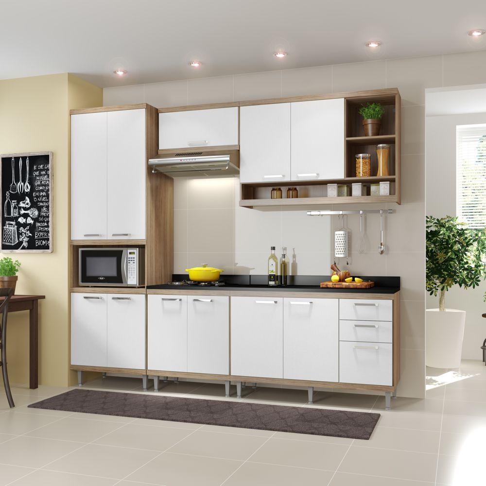 Armário de Cozinha Completo 6 peças 2,60m 5809 Linha Sicília Mltimóveis