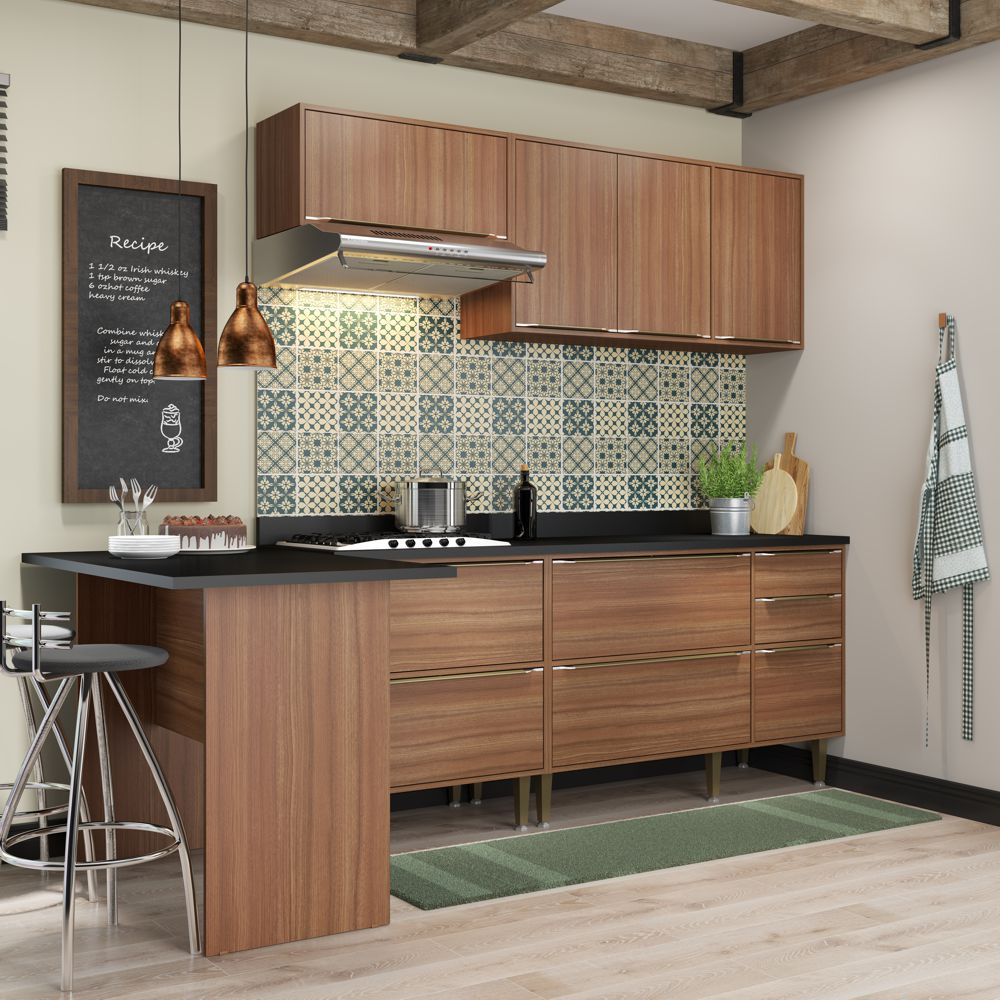 Armário de Cozinha Completo 6pc 2,58m Calábria 5455 Multimóveis