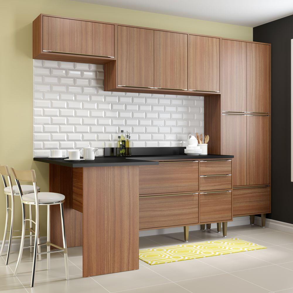 Armário de Cozinha Completo 6pc 2,60m Calábria 5454 Multimóveis