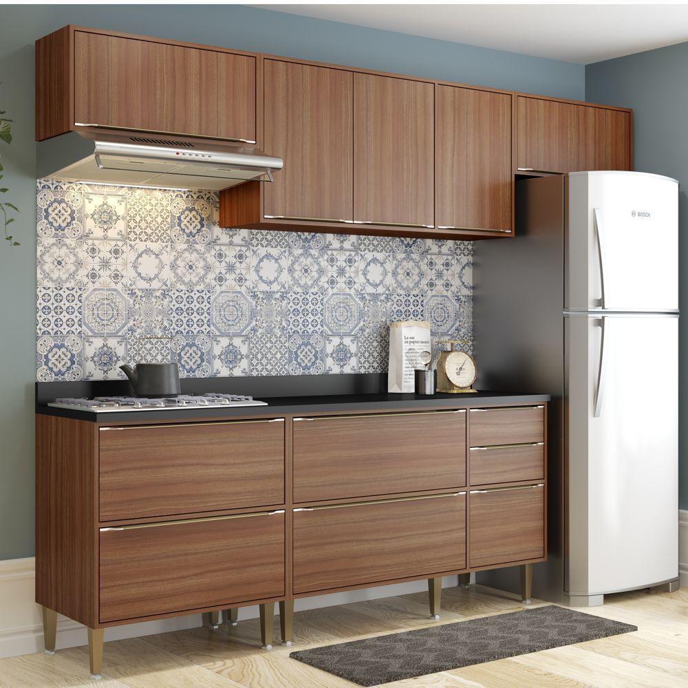 Armário de Cozinha Completo 6pc 2,60m Calábria 5456 Multimóveis