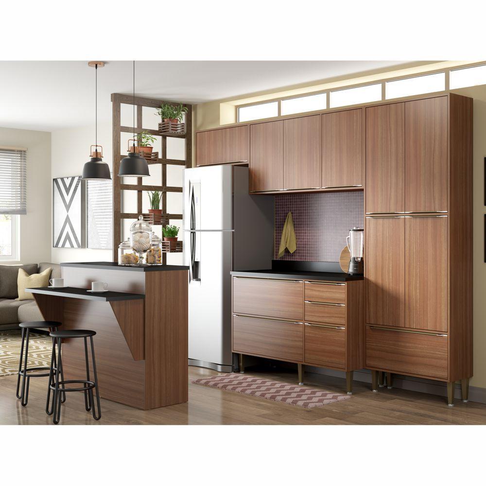 Armário de Cozinha Completo 6pc 2,60m Calábria 5464 Multimóveis