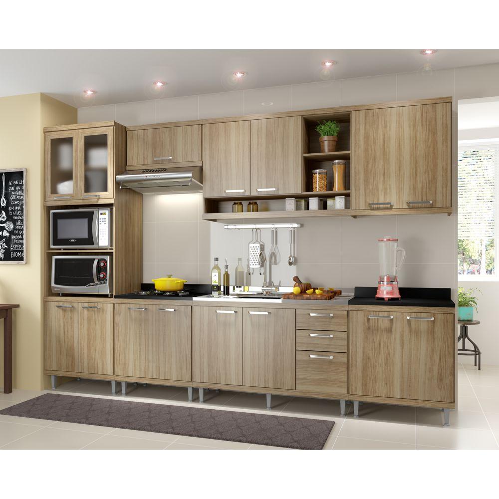 Armário de Cozinha Completo 7 peças 3,30m sem tampo de pia 5834 Linha Sicília Multimóveis