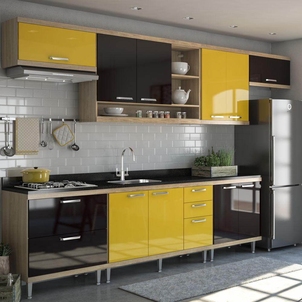 Armário de Cozinha Completo 7 peças sem tampo de pia 3,30m 5800 Linha Sicília Multimóveis