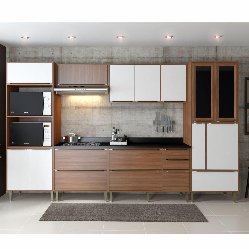 Armário de Cozinha Completo 7pc 3,30m Calábria 5450 Multimóveis