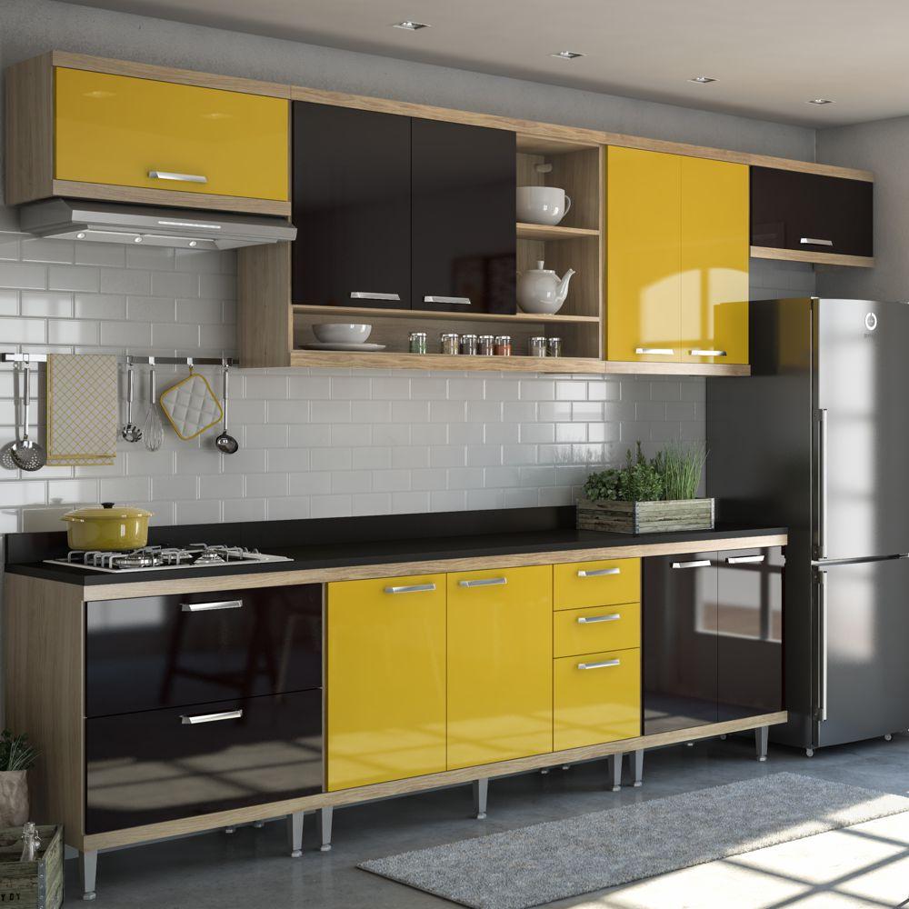 Armário de Cozinha Completo 8 peças 3,30m 5801 Linha Sicília Multimóveis