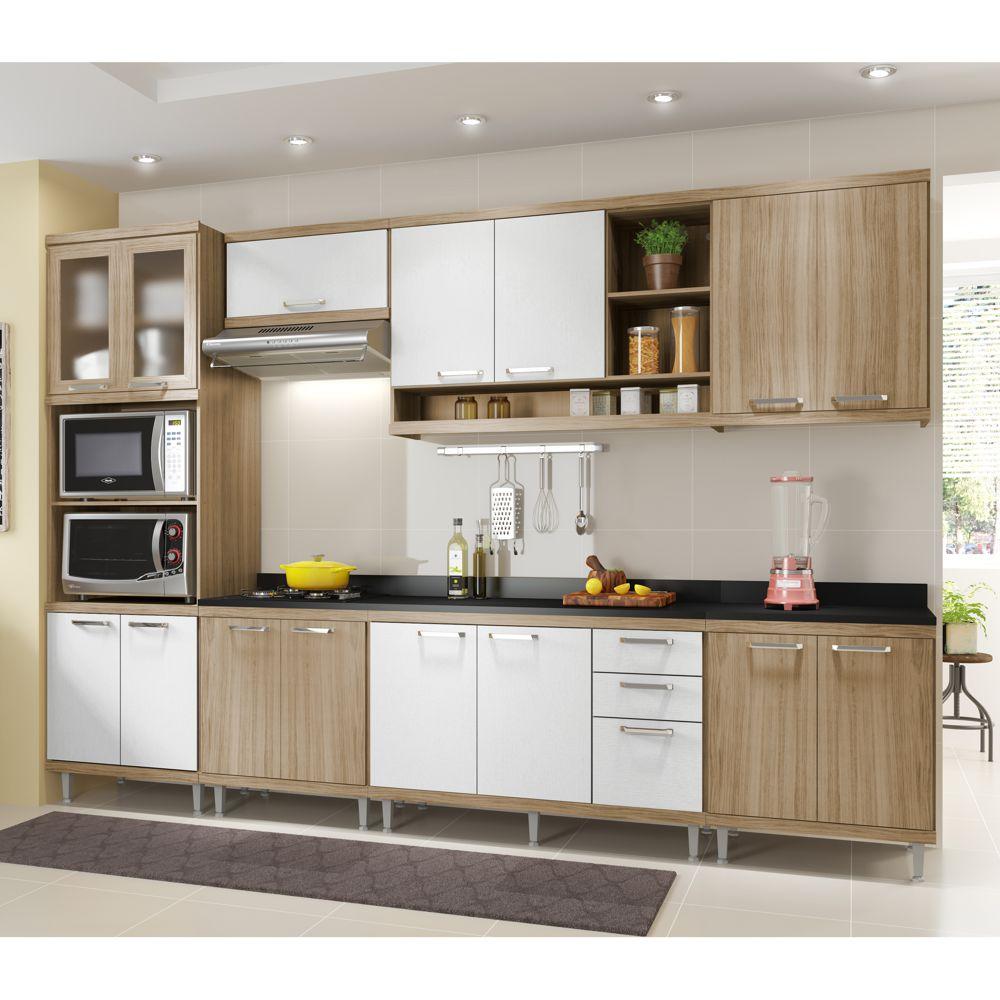 Armário de Cozinha Completo 8 peças 3,30m 5835 Linha Sicília Multimóveis