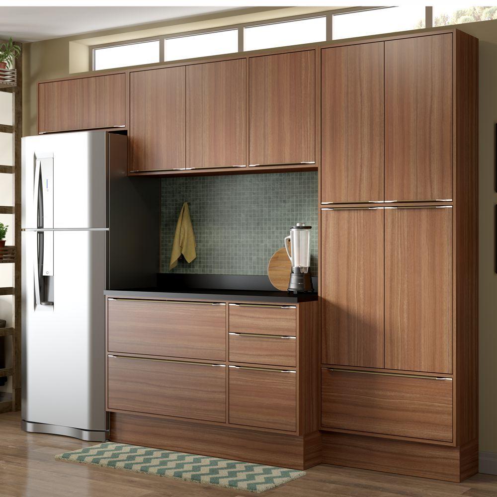 Armário de Cozinha Completo com Rodapé 2,60m 7pc 5458R Multimóveis
