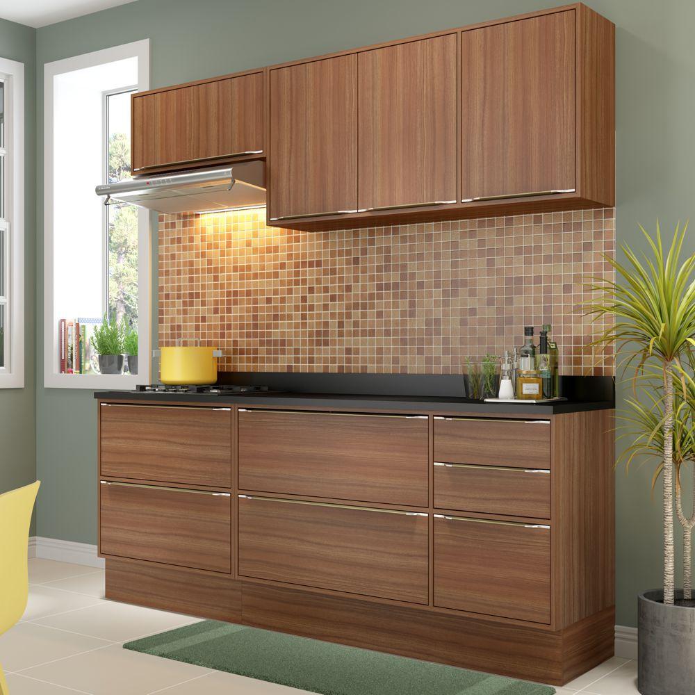 Armário de Cozinha Completo com Rodapé 7pc 1,90m Calábria 5459R Multimóveis