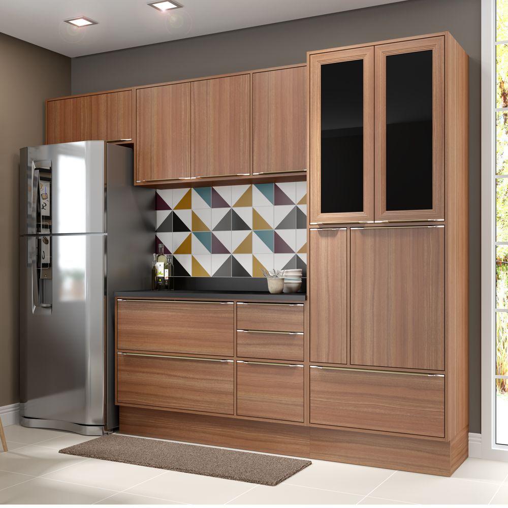 Armário de Cozinha Completo com Rodapé 7pc 2,60m Calábria 5453R Multimóveis
