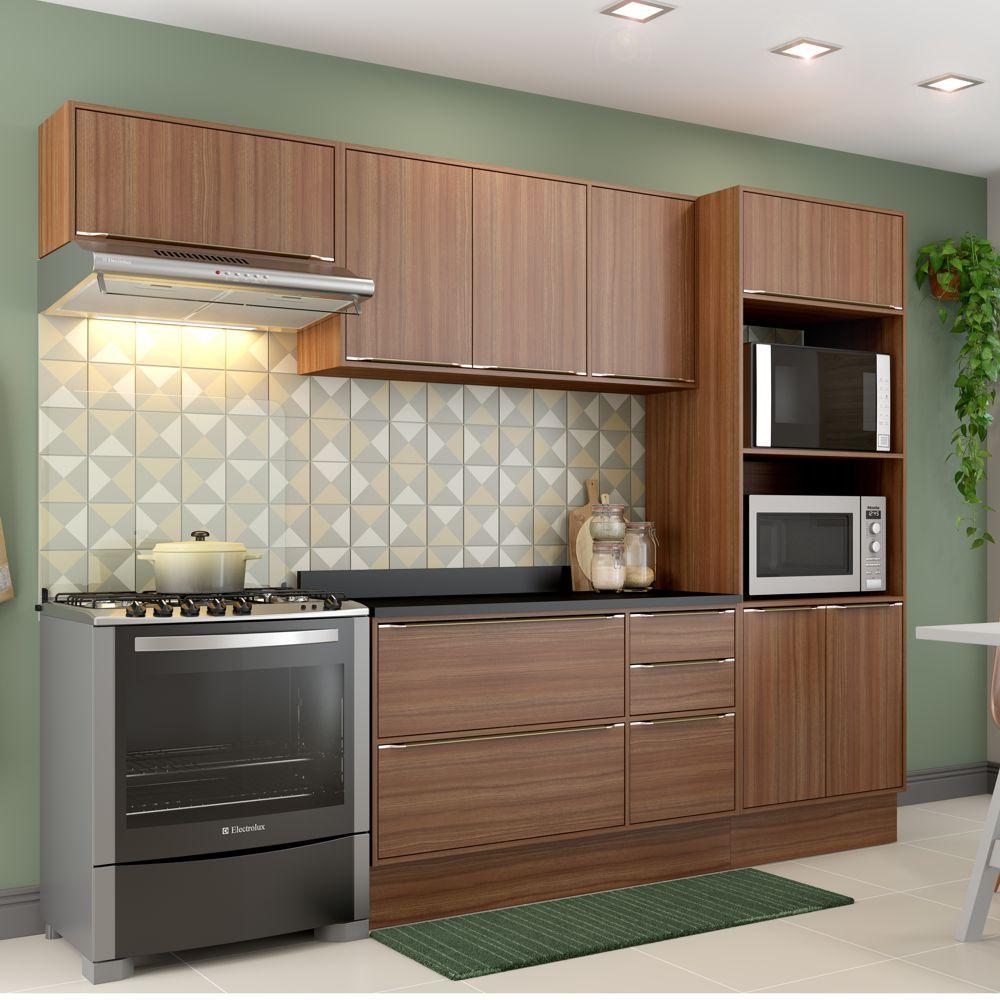 Armário de Cozinha Completo com Rodapé 7pc 2,60m Calábria 5457R Multimóveis
