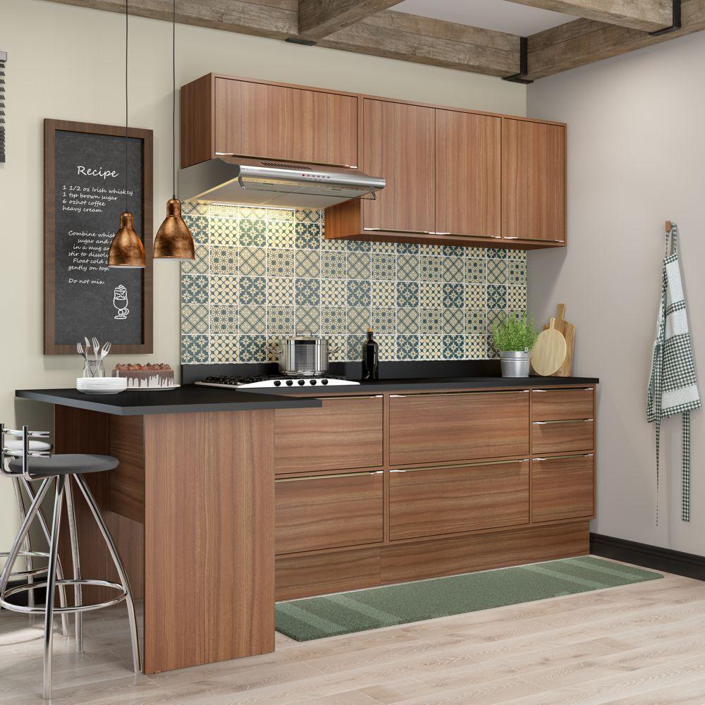 Armário de Cozinha Completo com Rodapé 8pc 2,58m Calábria 5455R Multimóveis