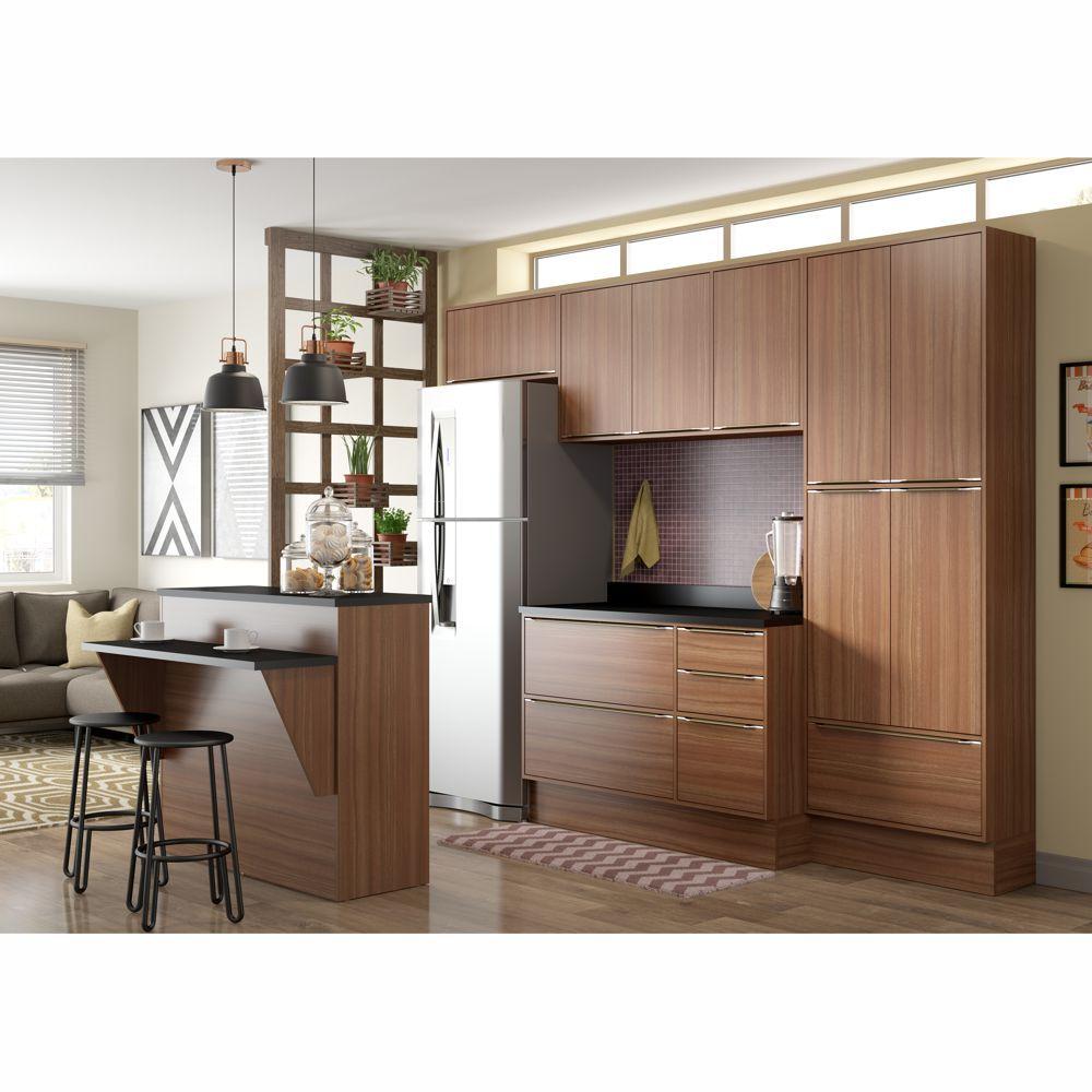 Armário de Cozinha Completo com Rodapé 8pc 2,60cm Calábria 5464R Multimóveis