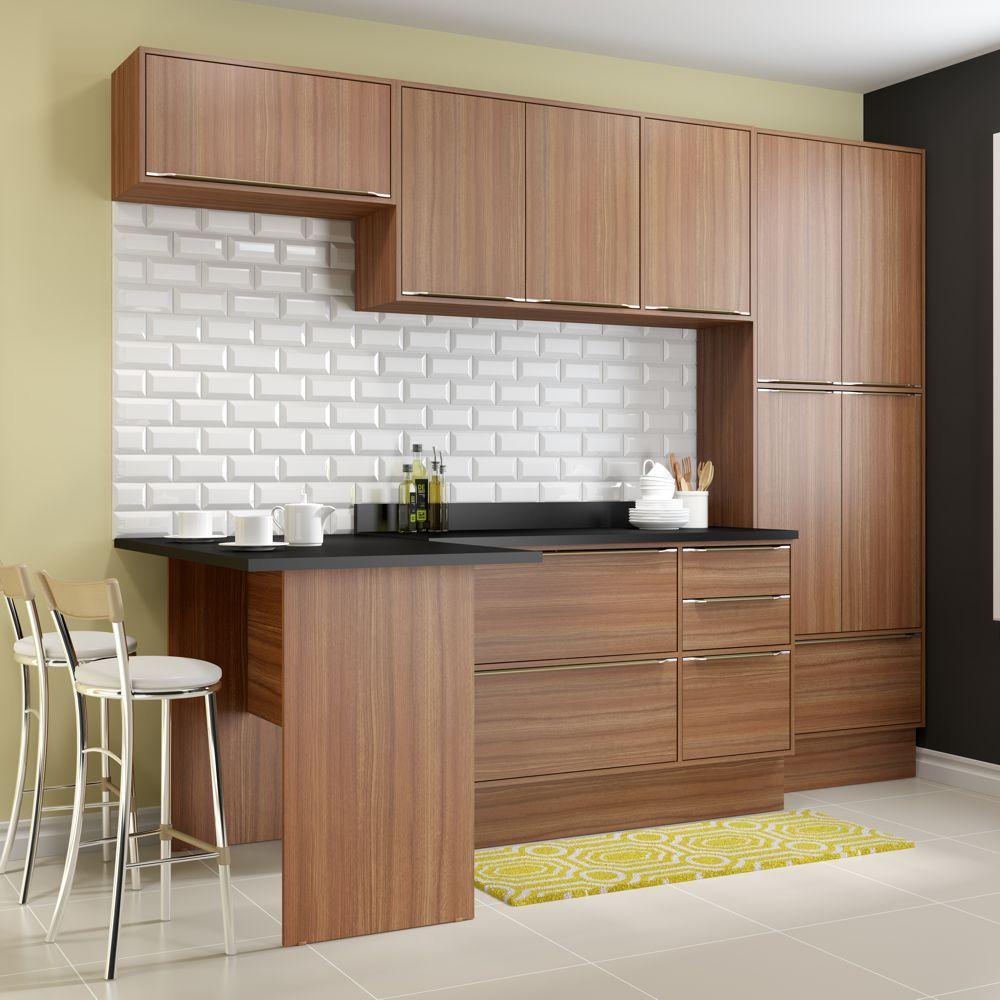 Armário de Cozinha Completo com Rodapé 8pc 2,60m Calábria 5454R Multimóveis