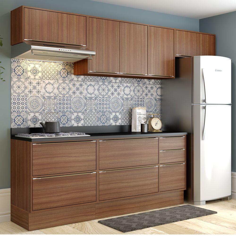 Armário de Cozinha Completo com Rodapé 8pc 2,60m Calábria 5456R Multimóveis
