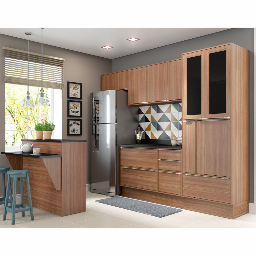 Armário de Cozinha Completo com Rodapé 8pc 2,60m Calábria 5463R Multimóveis