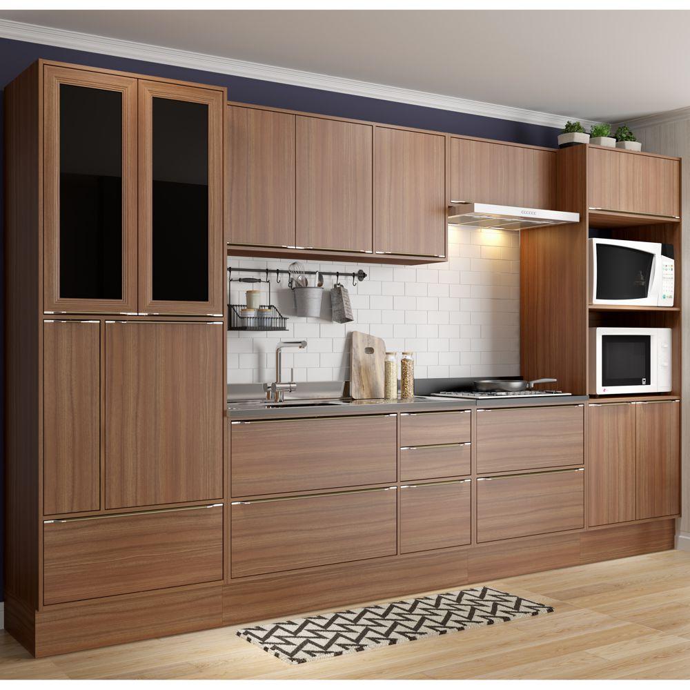Armário de Cozinha Completo com Rodapé sem Tampo 10pc 3,30m Calábria 5451R Multimóveis