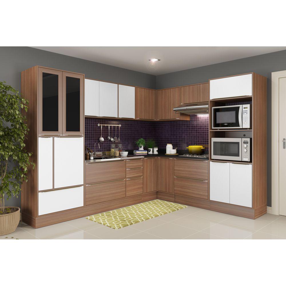 Armário de Cozinha Completo com Rodapé sem Tampo 13pc Calábria 5461R Multimóveis