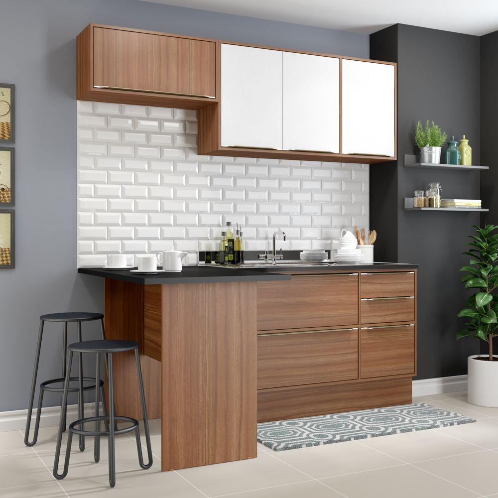 Armário de Cozinha Completo com Rodapé sem Tampo 5pc 1,90m Calábria 5460R Multimóveis