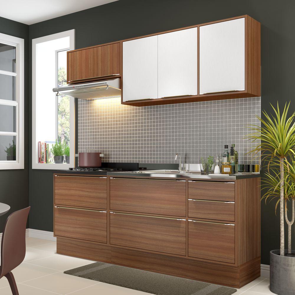 Armário de Cozinha Completo com Rodapé sem Tampo 6pc 1,90m Calábria 5459R Multimóveis