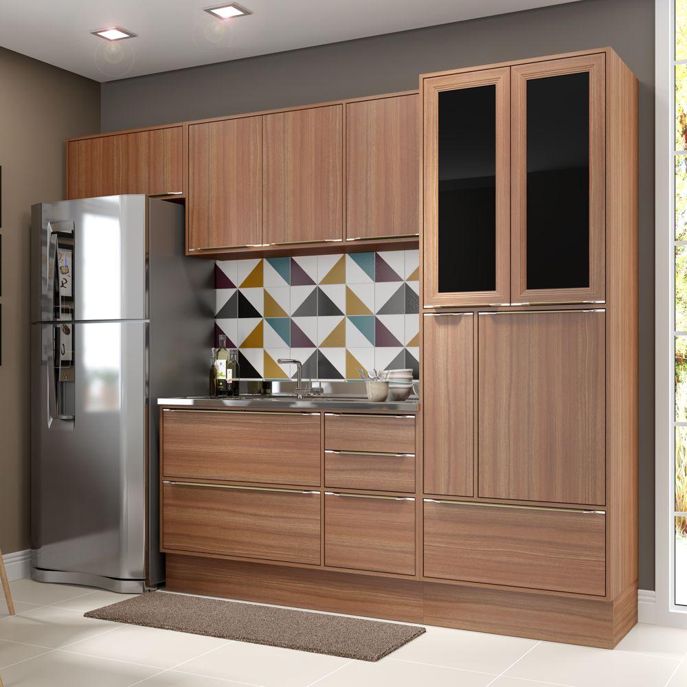 Armário de Cozinha Completo com Rodapé sem Tampo 6pc 2,60m Calábria 5453R Multimóveis
