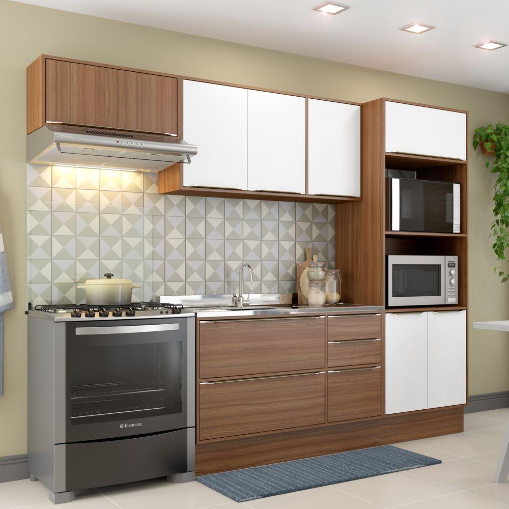 Armário de Cozinha Completo com Rodapé sem Tampa 6pc 2,60m Calábria 5457R Multimóveis
