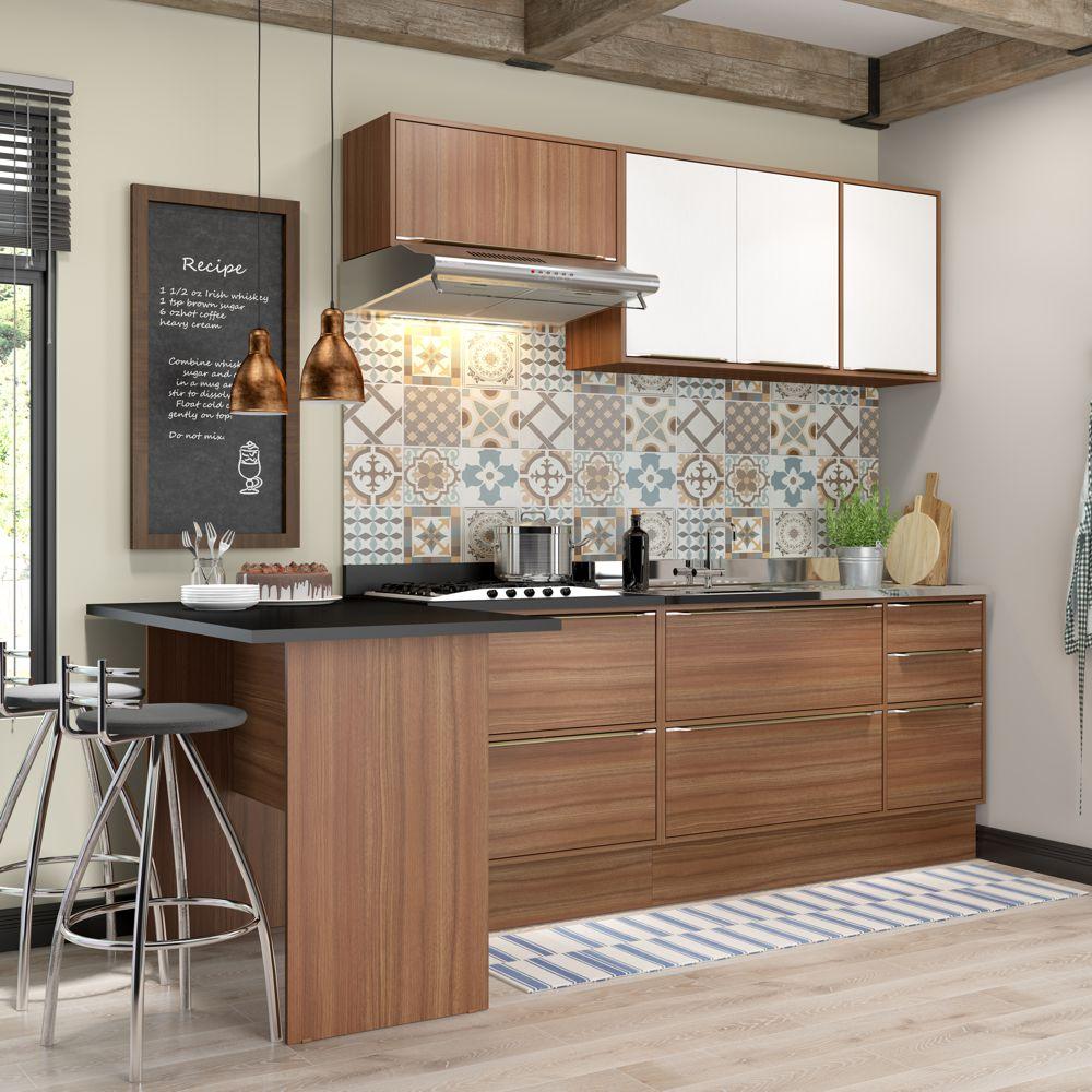 Armário de Cozinha Completo com Rodapé sem Tampo 7pc 2,58m Calábria 5455R Multimóveis