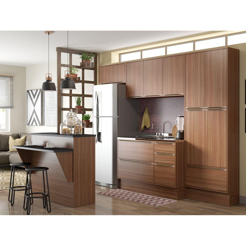 Armário de Cozinha Completo com Rodapé sem Tampo 7pc 2,60cm Calábria 5464R Multimóveis