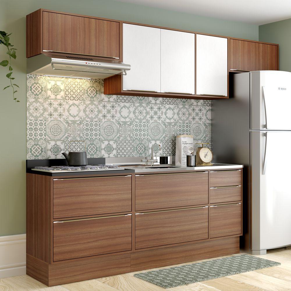 Armário de Cozinha Completo com Rodapé sem Tampo 7pc 2,60m Calábria 5456R Multimóveis