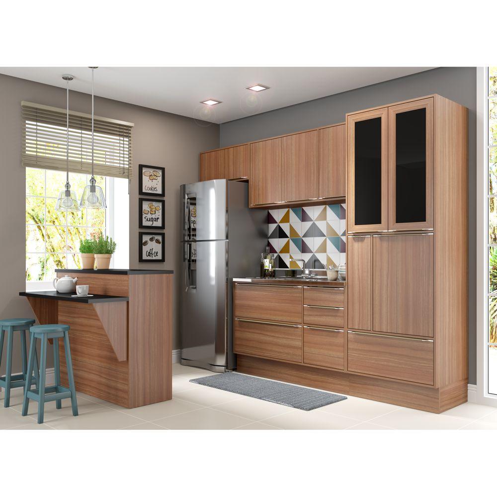 Armário de Cozinha Completo com Rodapé sem Tampo 7pc 2,60m Calábria 5463R Multimóveis
