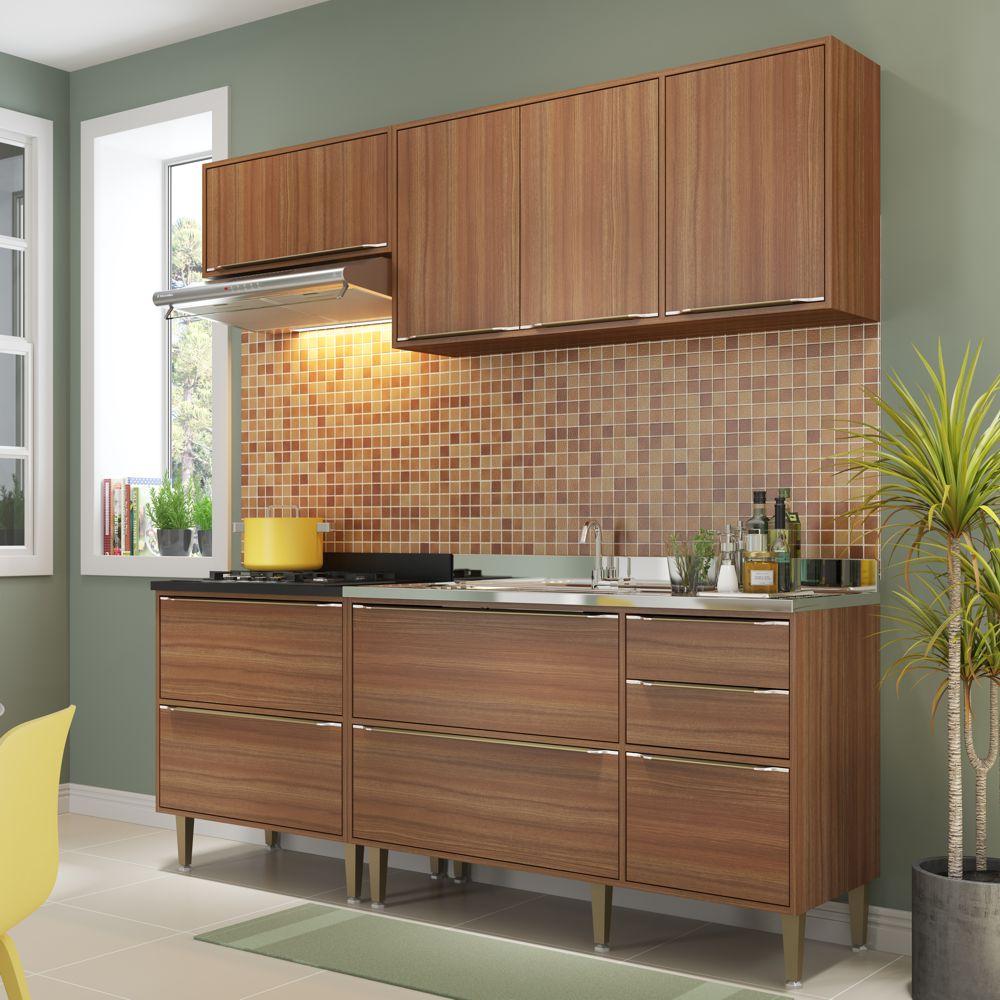 Armário de Cozinha Completo sem Tampo 4pc 1,90m Calábria 5459 Multimóveis