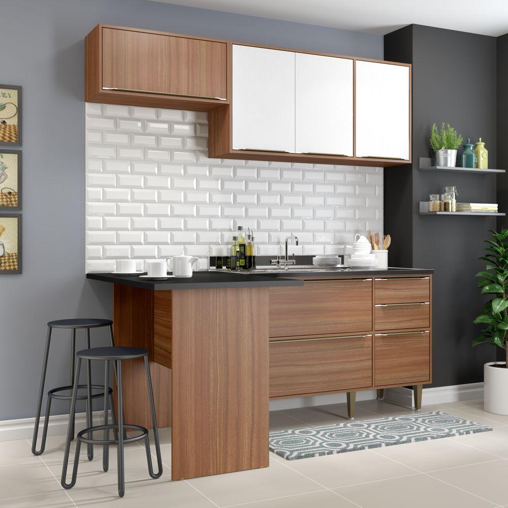 Armário de Cozinha Completo sem Tampo 4pc 1,90m Calábria 5460 Multimóveis