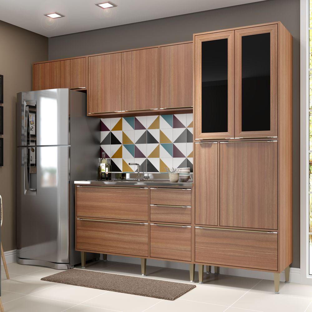 Armário de Cozinha Completo sem Tampo 4pc 2,60m Calábria 5453 Multimóveis