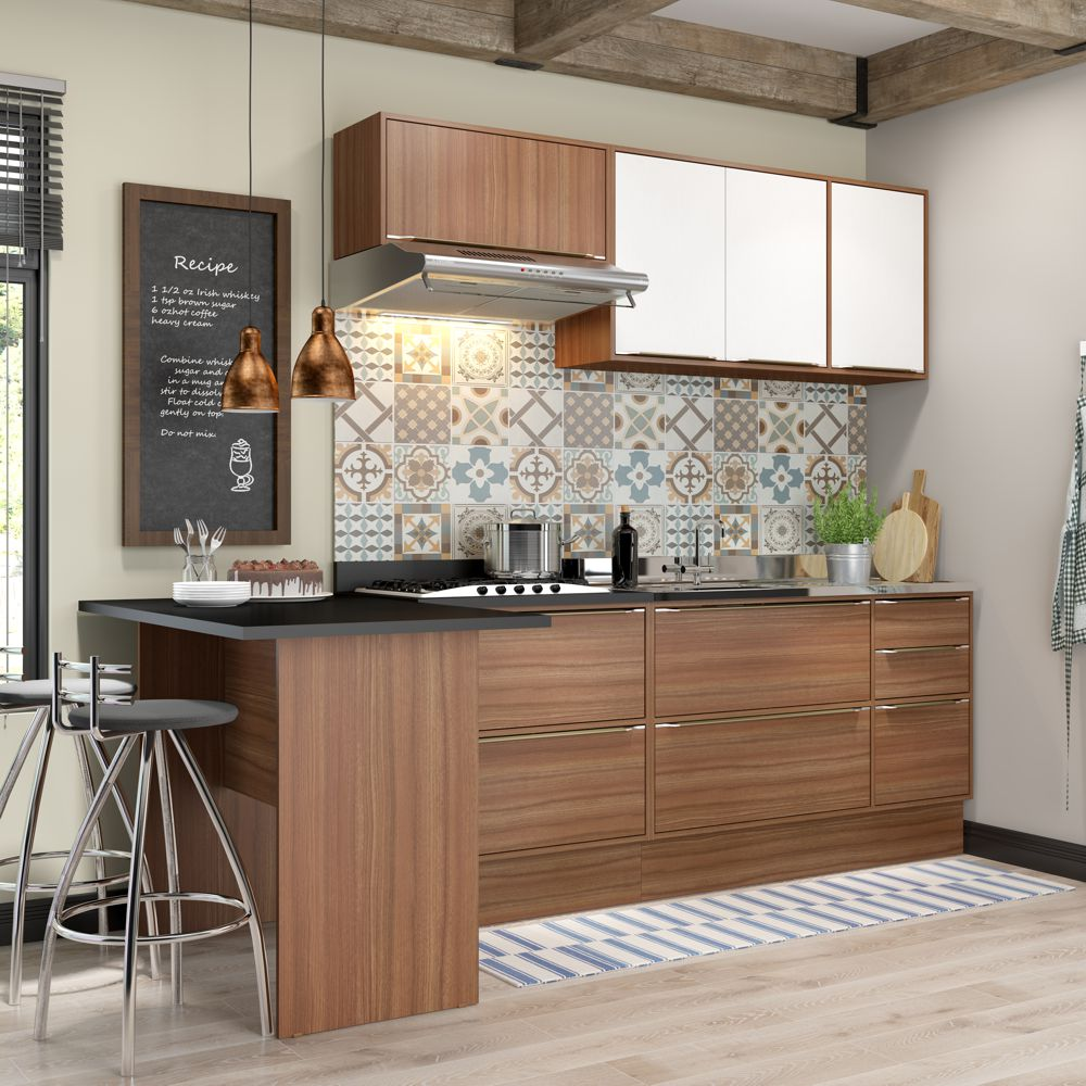 Armário de Cozinha Completo sem Tampo 5pc 2,58m Calábria 5455 Multimóveis
