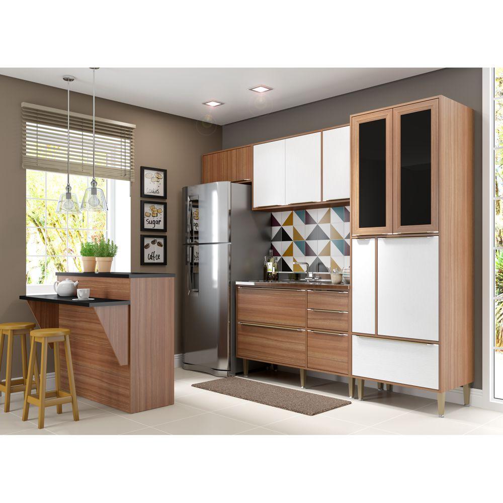 Armário de Cozinha Completo sem Tampo 5pc 2,60m Calábria 5463 Multimóveis