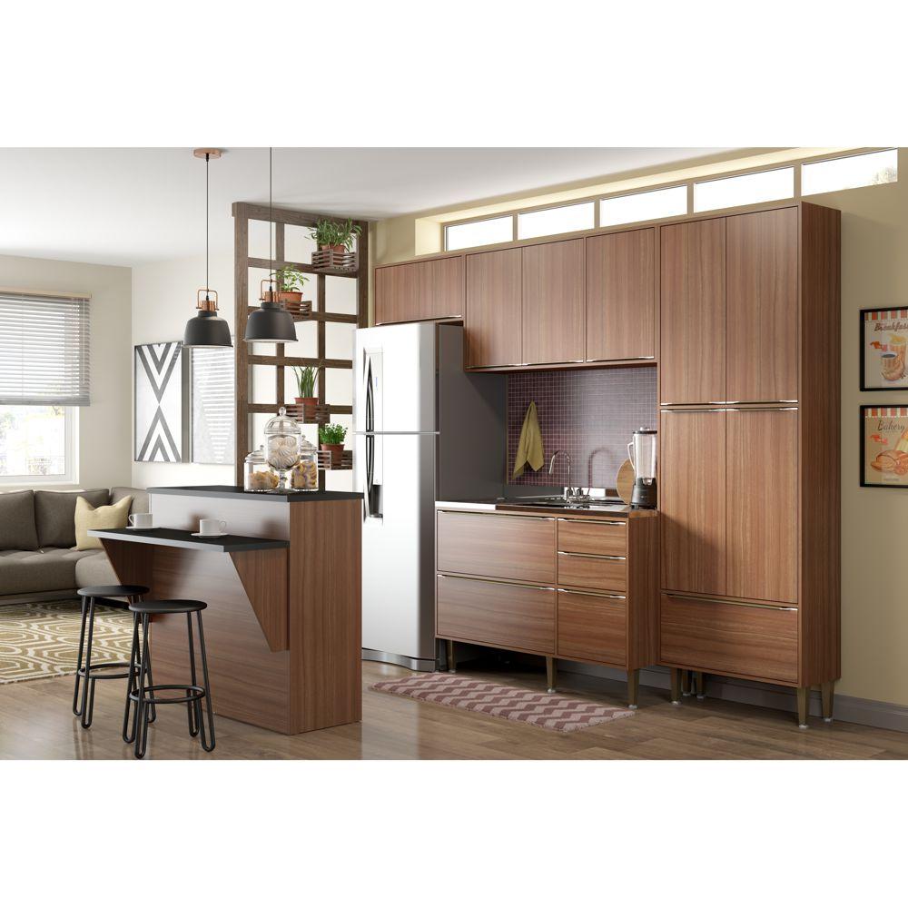 Armário de Cozinha Completo sem Tampo 5pc 2,60m Calábria 5464 Multimóveis