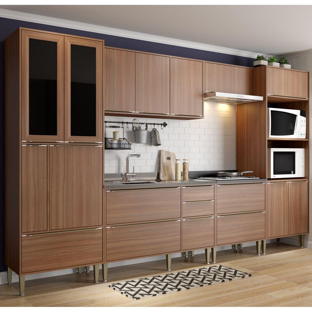 Armário de Cozinha Completo sem Tampo 6pc 3,30m Calábria 5451 Multimóveis