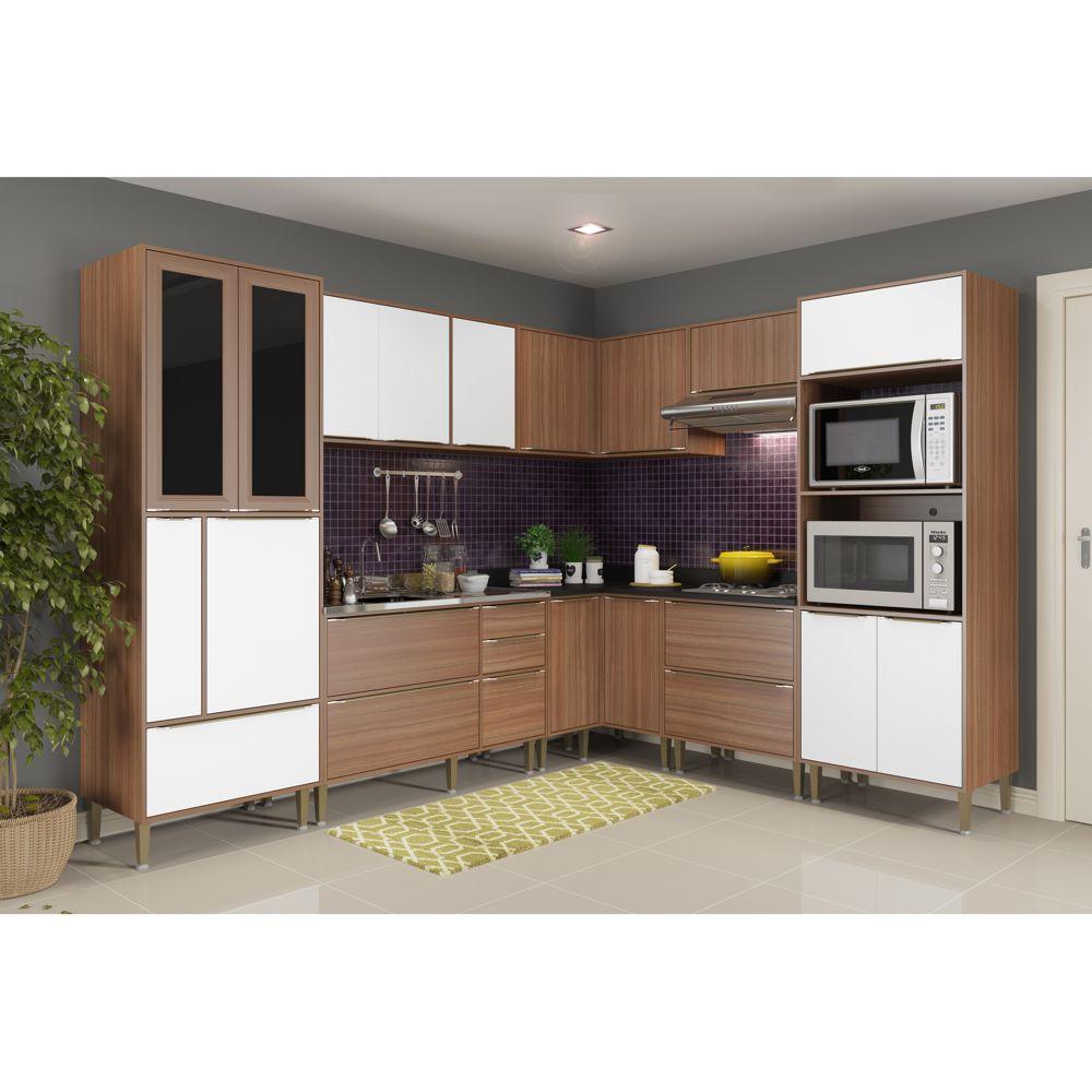 Armário de Cozinha Completo sem Tampo 8pc 276,50cm Calábria 5461 Multimóveis