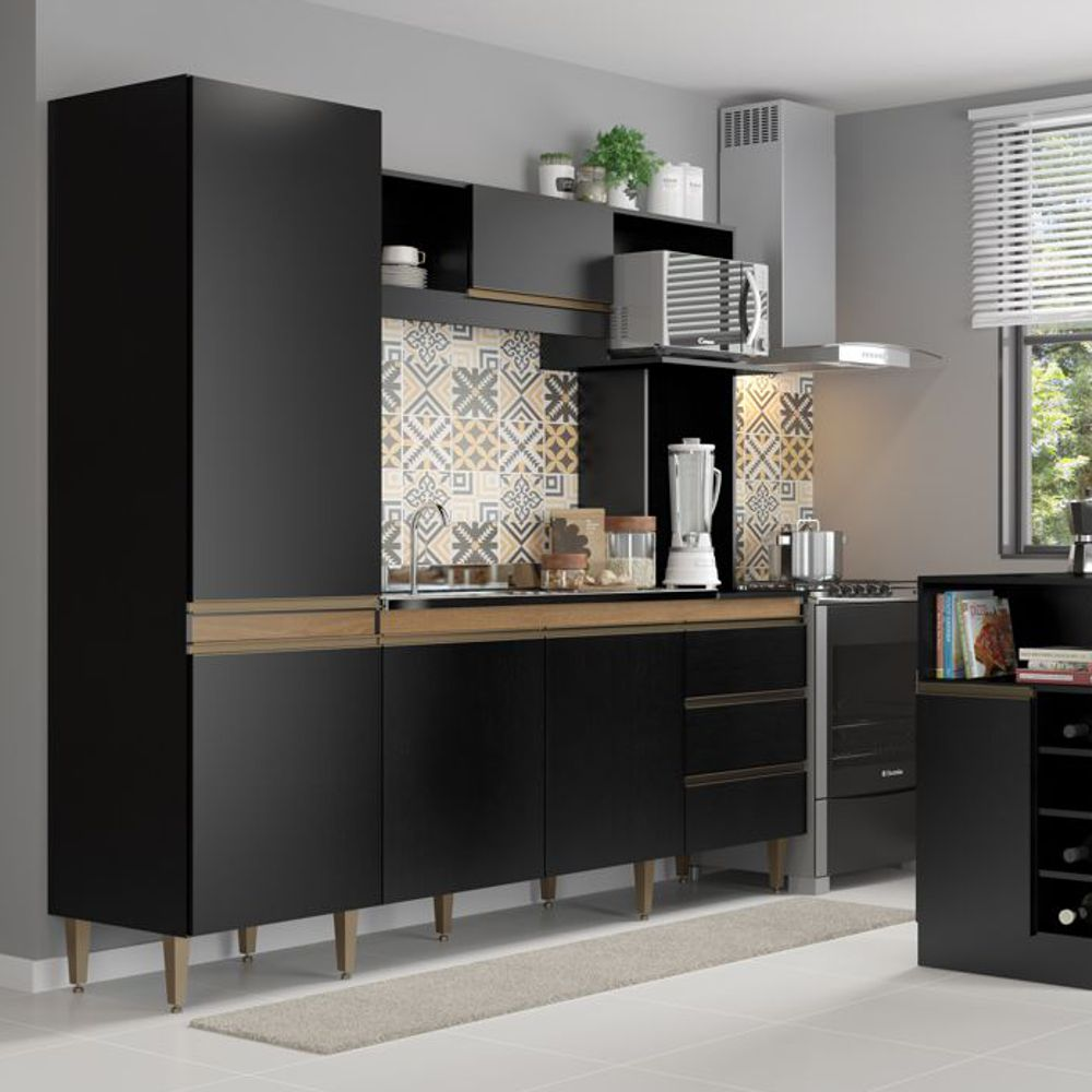 Armário de Cozinha Completo Vitoria 2,15m 0318 Soluzione Móveis