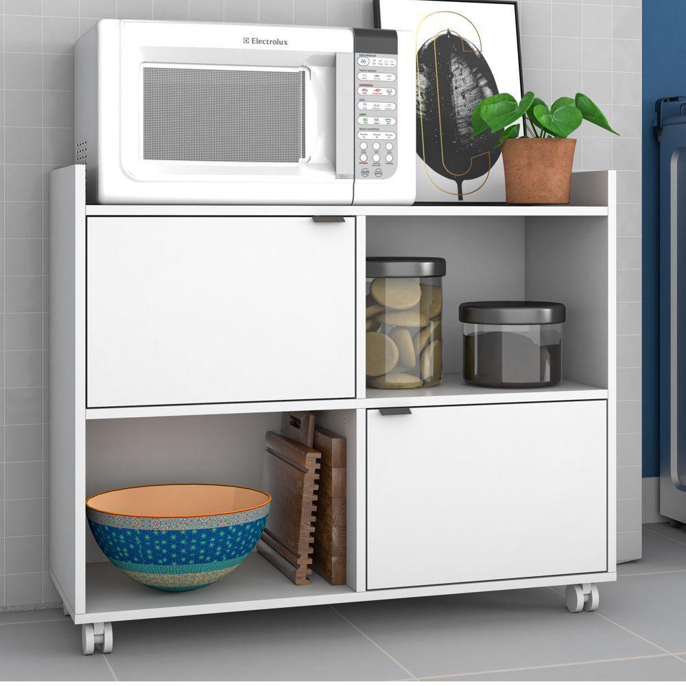 Armário de Cozinha Multiuso com Rodízio 90cm BMU 170 BRV Móveis